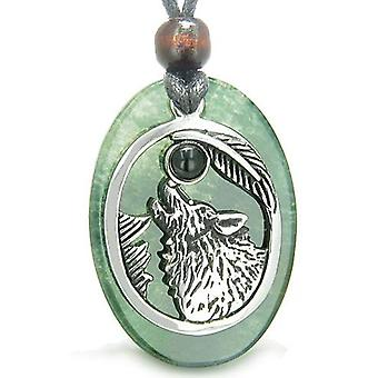 Amulet mod Howling Wolf Moon heldige charme grøn Onyx sort Onyx vedhæng halskæde