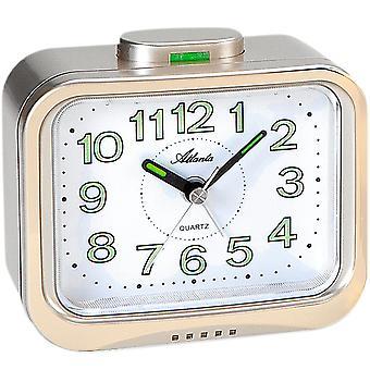 Vækkeur kvarts analog golden med klokke signal lysende hænder