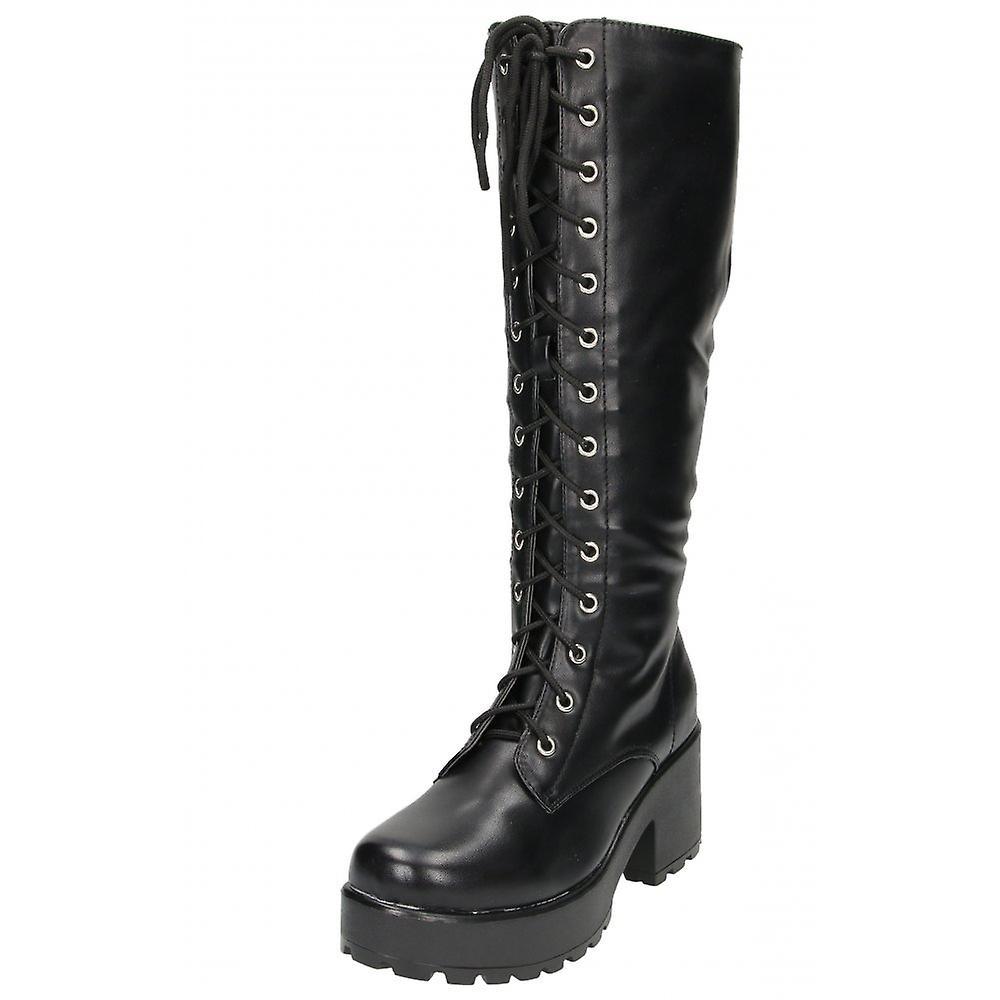 Koi skor svart Chunky klack plattform Gothic Punk knähöga mitten av bekämpa stövlar med snörning