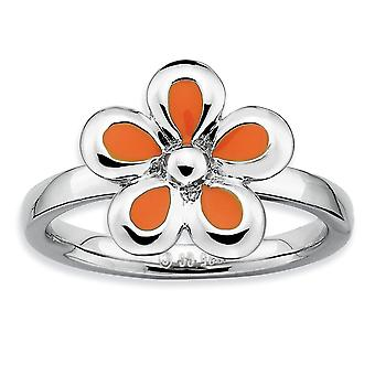 925 Sterling Silber Rhodium vergoldet stapelbare Ausdrücke poliert Orange emaillierte Blume Ring Schmuck Geschenke für Frauen -