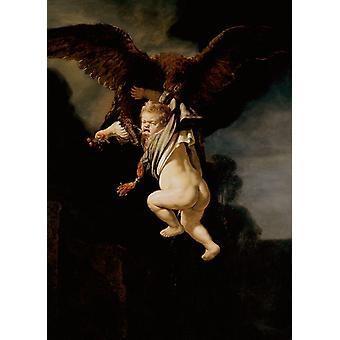 The rape of Ganymede,REMBRANDT Harmenszoon van Rijn,50x40cm