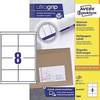 Avery-Zweckform 3660 Labels 97 x 67,7 mm Paper White 800 pc(s) Permanent All-purpose labels Inkjet, Laser, Copier 100 Sheet A4