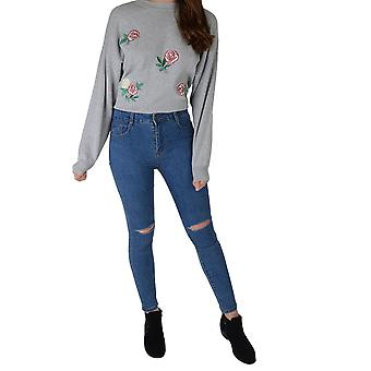 Lovemystyle High Waisted Light Wash Denim Jeans With Ripped Knees - SAMPLE