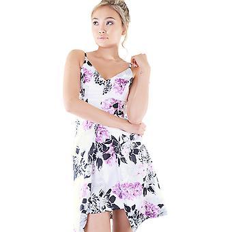 Lovemystyle wit Sweetheart hals jurk met bloemen