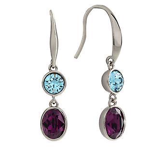 Bertha Jemma Collection Women's 18k WG Plated Blue & Purple Dangle Fashion Earrings