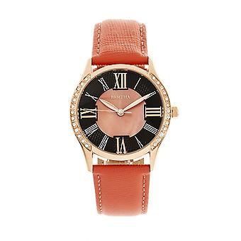 Bertha Sadie Mother-of-Pearl Leather-Band Watch - Coral