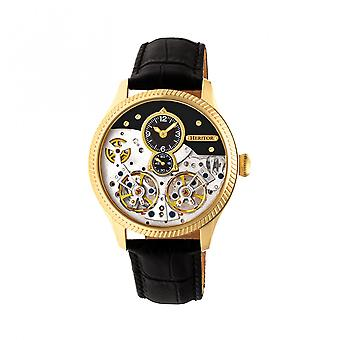 Heritor Automatic Winthrop Leather-Band Skeleton Watch - Gold/Black