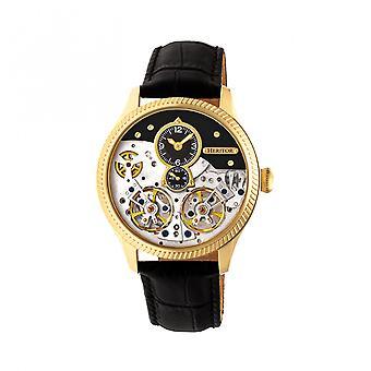 Heritor couro-banda Winthrop automático relógio esqueleto - preto/ouro