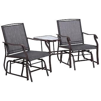 Outsunny Garden Double Glider Rocking Chairs Gliding Love Seat with Middle Table Conversation Set Patio Backyard Relax Outdoor Furniture