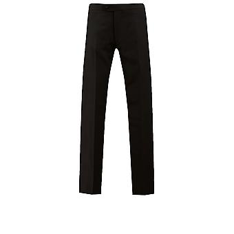 Dobell zwarte Tuxedo Herenbroeken Fit Regular satijn zijde Stripe