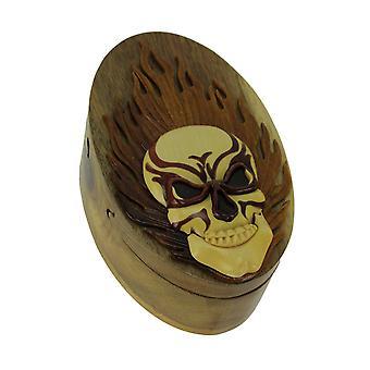 Talladas a mano madera cráneo ardiente abalorio caja del rompecabezas