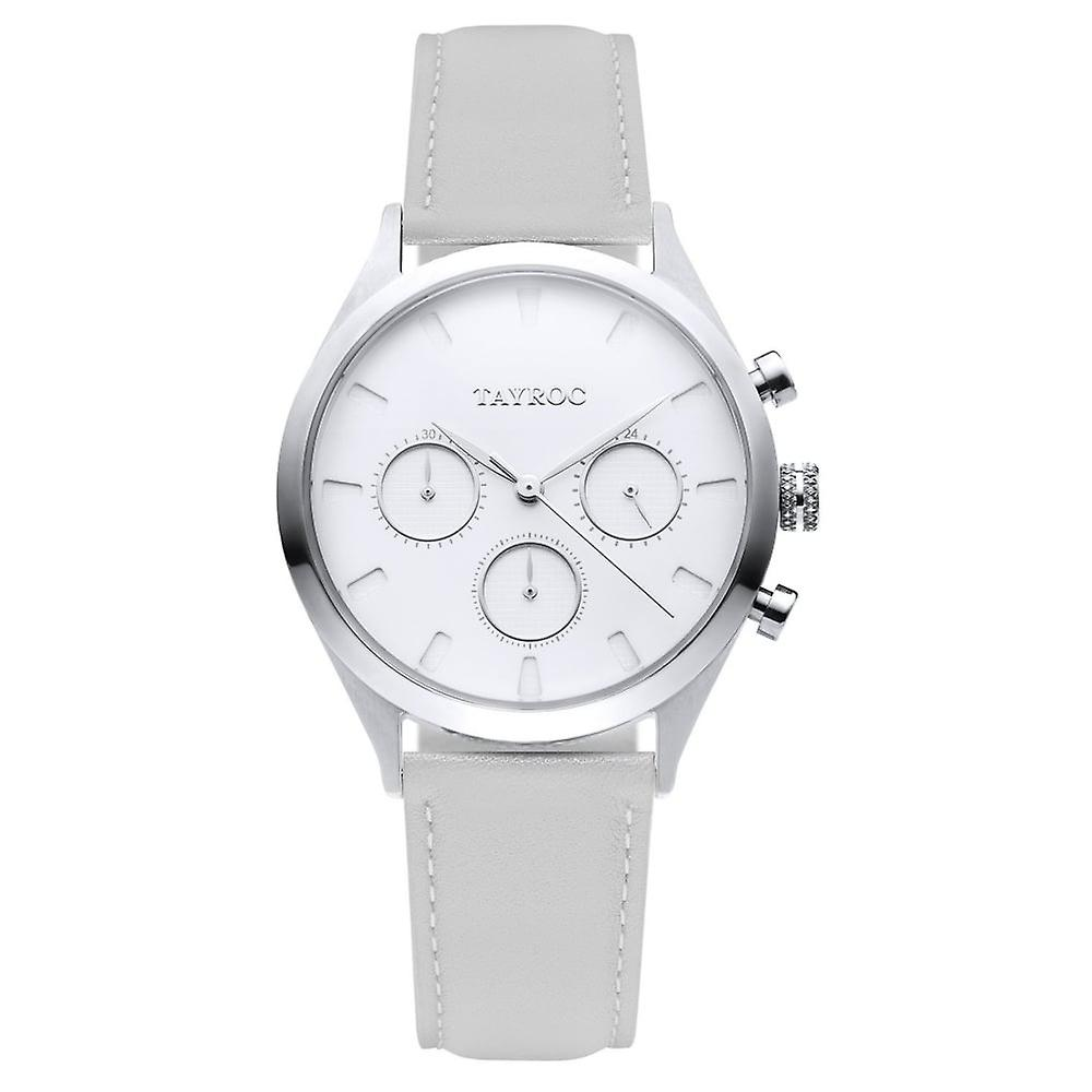 Tayroc Ty59 Morocco Silver & Grey Leather Chronograph Ladies Watch
