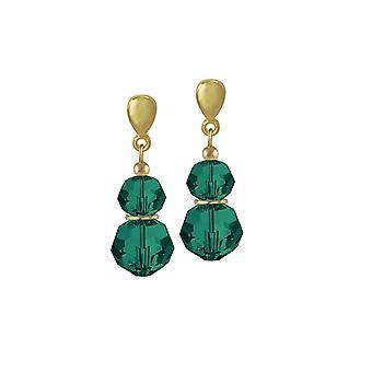 Eternal Collection Echo Emerald Green Austrian Crystal Gold Tone Drop Pierced Earrings