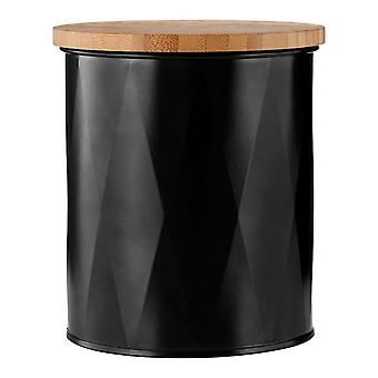 Premier Round Storage Black with Bamboo Lid Small