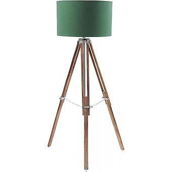 Libra Furniture Natural Wood And Nickel Tripod Floor Lamp With Green Shade