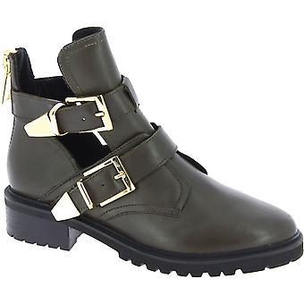Steve Madden-ankel støvler til kvinder med spænder og lynlås i Kaki-læder