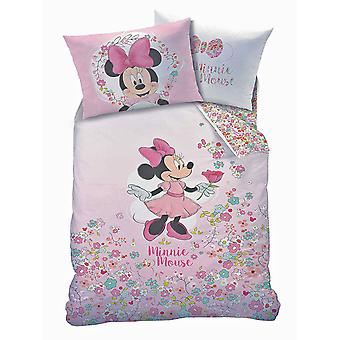 Minnie Mouse Bloom Single Duvet Cover and Pillowcase Set