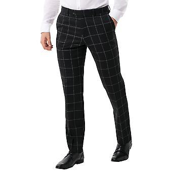 Dobell Mens Black Suit Trousers Regular Fit White Windowpane Check
