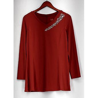 Belle by Kim Gravel Top Long Sleeve Embellished V Neck Pink