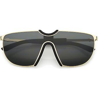 Futurystyczne dwutonowe metalowe ramy Flat Mono Lens Shield Okulary przeciwsłoneczne
