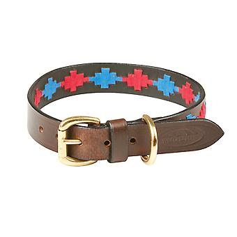 Collier de chien en cuir de Polo de Weatherbeeta - Beaufort Brown/rose/bleu