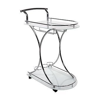 Home bar - chrome metal / tempered glass server