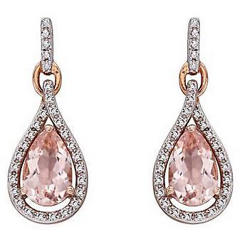 Elements Gold Morganite Tear Drop Shape Earrings - Pink/Silver