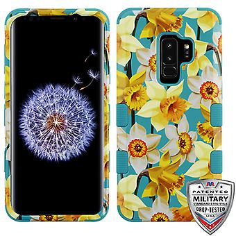 MYBAT Spring Daffodils/Tropical Teal TUFF Hybrid Phone Protector Cover for Galaxy S9 Plus