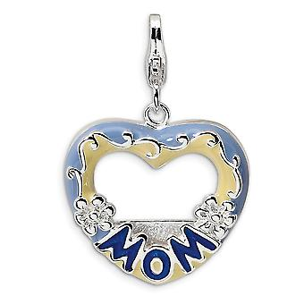 925 Sterling Silver Rhodium plated Fancy Lobster Closure 2 D Blue Enameled Mom Photo With Lobster Clasp Charm Pendant Ne