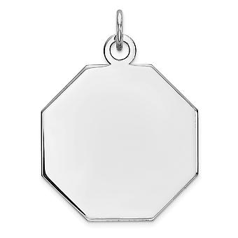925 Sterling Argento polacco incisa Octagon Octagon Disc Charm - 3.5 Grams