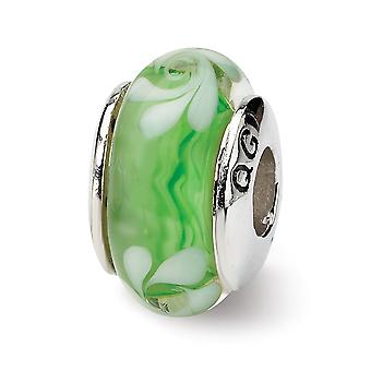 925 Sterling Silver Polished finish Reflections Green White Murano Glass Bead Charm Pendant Necklace Jewelry Gifts for W