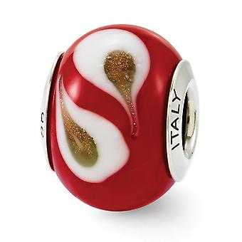925 Sterling Silber poliert Reflexionen rot braun weiß italienischen Murano Glas Perle Anhänger Anhänger Halskette Schmuck Geschenke