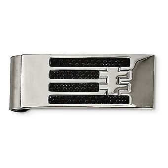 Stainless Steel Polished Carbon Fiber Money Clip Jewelry Gifts for Men