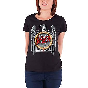 Slayer T Shirt Silver Eagle Band Logo new Official Womens Skinny Fit Black