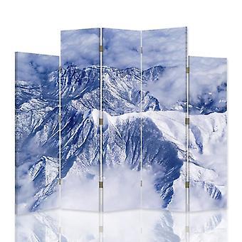 Divisor de habitación decorativa, 5 paneles, doble cara, lienzo, montañas en las nubes 2