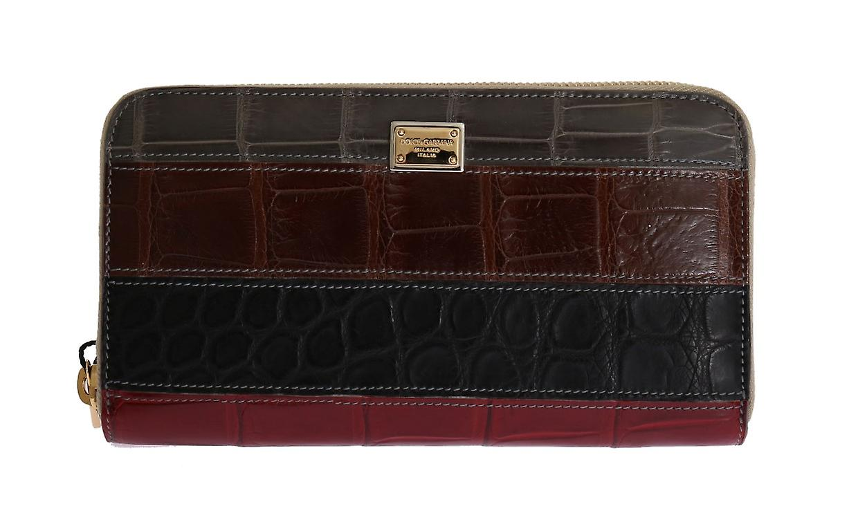 Multicolor Crocodile Skin Leather Continental Wallet