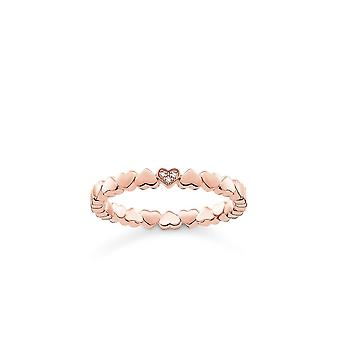 Thomas Sabo Sterling Silver Thomas Sabo Rose Gold Heart Ring With Diamond D_TR0013-923-14