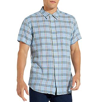Wrangler Mens One Pocket Short Sleeve Casual Cotton Buttoned Shirt - Cerulean