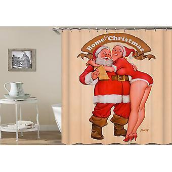 Santa en jonge hete Mrs. Claus douche gordijn