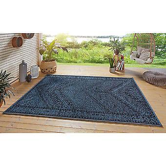 Design In- und Outdoor Teppich  Mardin Blau Schwarz