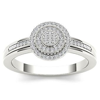 IGI Certified Natural 0.15 Ct 10k WHITE Gold Diamond Halo Engagement Ring Size