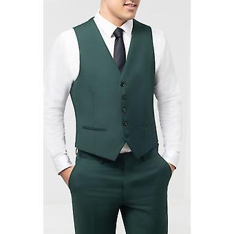 Dobell Mens Bottle Green Waistcoat Slim Fit