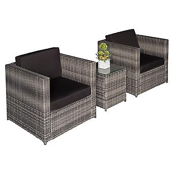 Outsunny Garden  Rattan Furniture 3 pcs Patio Bistro Set Weave Conservatory Sofa Table Chair Set Grey Wicker Black Cushion