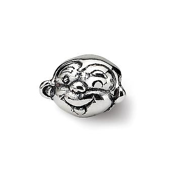 925 Sterling Silver Polished finish Reflections SimStars Kids Monkey Bead Charm Pendant Necklace Jewelry Gifts for Women