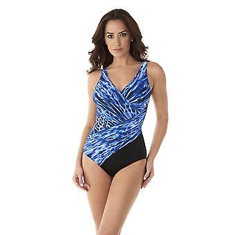 Miraclesuit 6525888W-DPN Women's Lynx Lazuli Oceanus Delphine Blue Plus Size Shaping Swimsuit