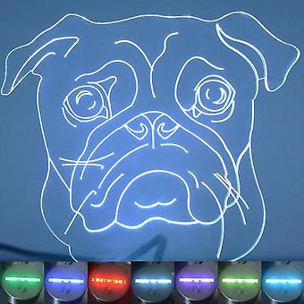 Mops ansikte hund Colour Changing LED akryl ljus