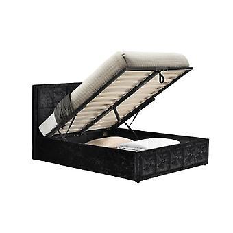 120CM HANNOVER FABRIC OTTOMAN BED BLACK CRUSHED VELVET