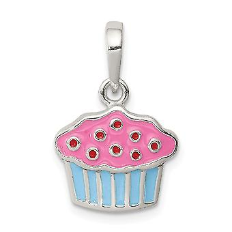 925 Sterling Silver Polished Enamel Cupcake for boys or girls Pendant Necklace