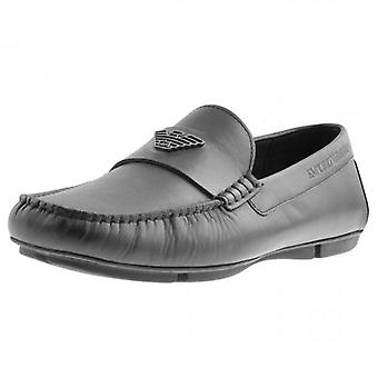 Emporio Armani Black Leather Slip On Loafer Shoes X4B124 XF330