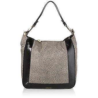 Borbonese Hobo Medium Brown Women's Shoulder Bag (Classic/Black Op) 35x36x13 cm (W x H x L)
